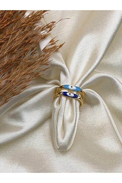 Eylülün Takısı Kadın Ikili Lacivert Ve Mavi Rengi Nazar Boncuk Modeli Yüzük
