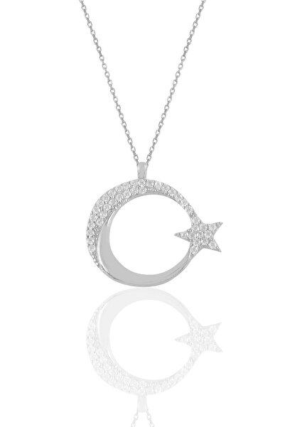 Söğütlü Silver Gümüş Rodyumlu Zirkon Taşlı Ay Yıldız Kolye