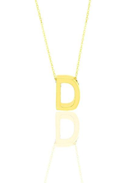 Söğütlü Silver Gümüş Altın Yaldızlı Üç Boyutlu Minimal D Harf Kolye