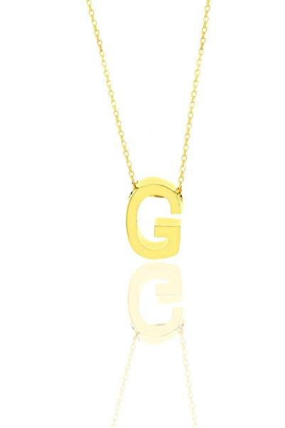 Söğütlü Silver Gümüş Altın Yaldızlı Üç Boyutlu Minimal G Harf Kolye