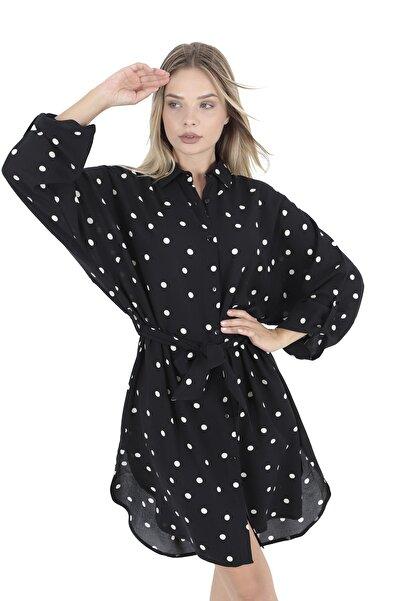 BUKETLİ Siyah Kuşaklı Puantiyeli Elbise