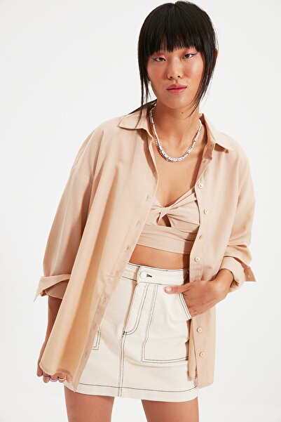 TRENDYOLMİLLA Camel Basic Gömlek TWOAW22GO0147