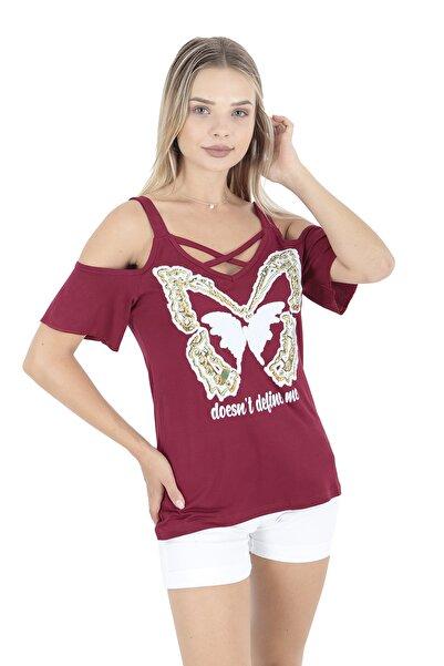 Modagusto Bordo Omuzları Açık Kelebek Baskılı T-shirt