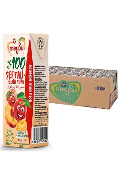Meysu % 100 Şeftali Elma Meyve Suyu 200 ml 1 Koli X 27 Li Paket