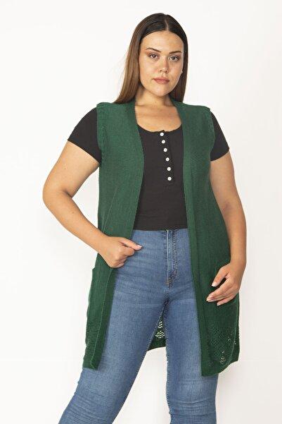 Şans Kadın Yeşil Ajur Örgü Triko Yelek 18A12066