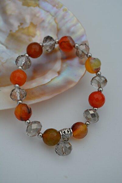 Stoneage Jewellery Akik Taşlı Ve Çek Kristali Bileklik