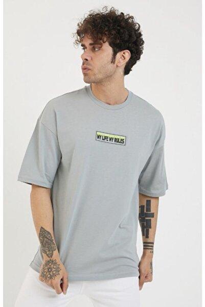 BREEZY Unisex Oversize Enjeksiyonlu Gri T-shirt ( My Lıfe My Rules )