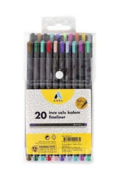 Adel Fineliner 0.4mm Kalem 20 Renk Karışık