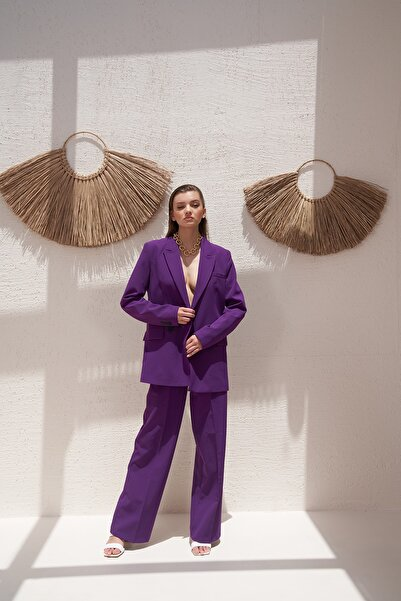 Eka Kadın Mor Iki Düğmeli Blazer Ceket 0993-2112