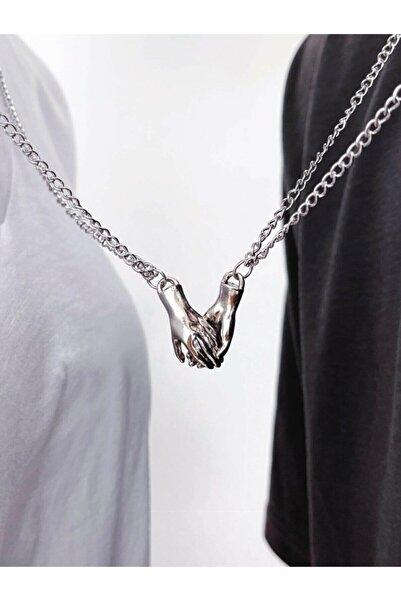 AlpCollection Gri Ikili Mıknatıslı Çift El Sevgili Metal Zincirli Kolye Takı