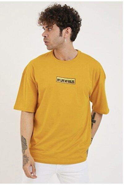 BREEZY Unisex Oversize Enjeksiyonlu Sarı T-shirt ( My Lıfe My Rules )