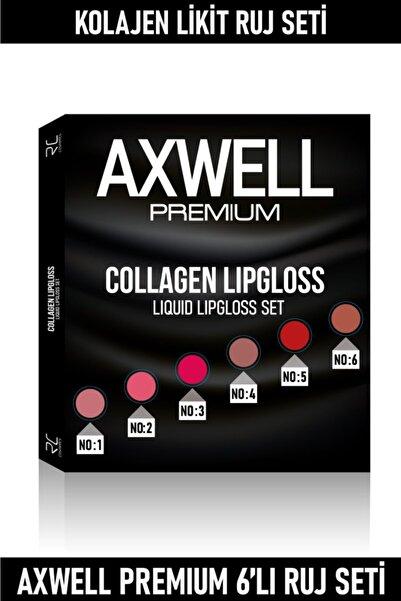 AXWELL Premium Uzun Süre Kalıcı Hızlı Kuruyan Kolajenli Mat Likit Ruj 6'lı Set