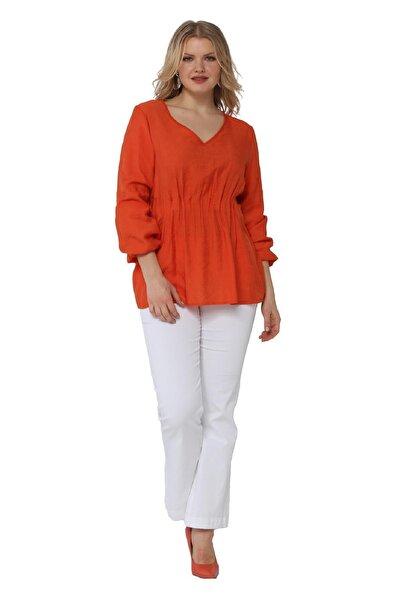 Günay Kadın Bluz Lm23050 V Yaka Lastikli Bel Uzun Kol-turuncu