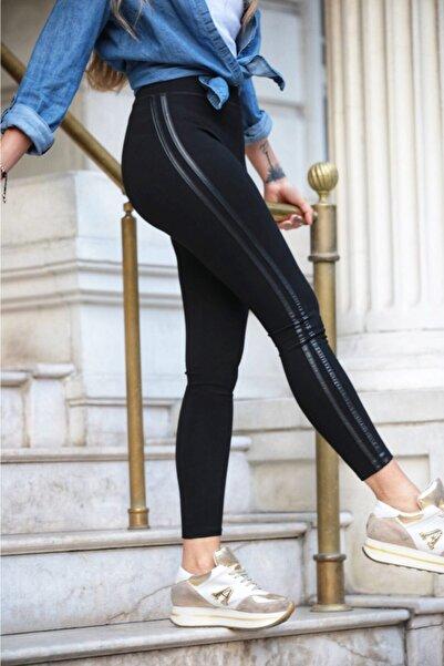 Grenj Fashion Siyah Yanı Iki Deri Şeritli Yüksek Bel Toparlayıcı Tayt