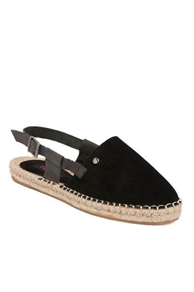 Tergan Siyah Deri Kadın Sandalet 64368a01