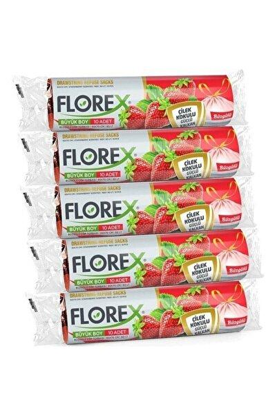 Florex Büzgülü Çilek Kokulu Orta Boy Çöp Poşeti - 5 Rulo 55*60