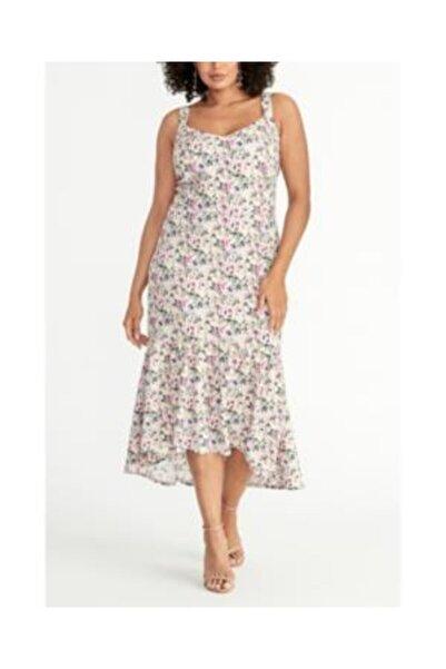 RACHEL ROY Kadın Pembe Plus Maxi Çiçekli Elbisesi