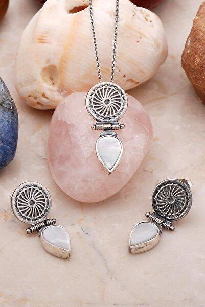 Sümer Telkari Sedef Taşlı Elişi Tasarım Gümüş Set 2206