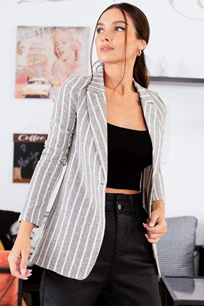 armonika Kadın Haki Tek Düğmeli Kalin Çizgili Ceket