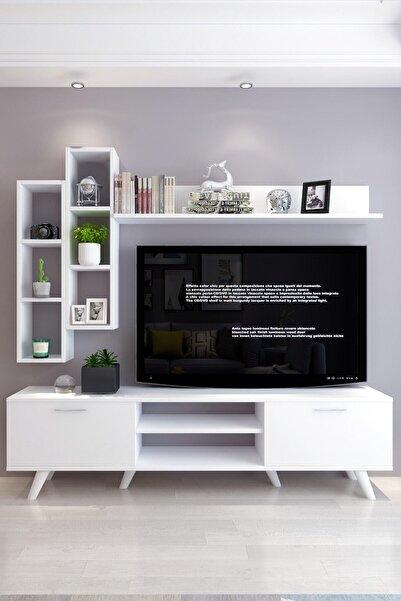Moonlife İstanbul Dolaplı Tv Ünitesi 2 Beyaz