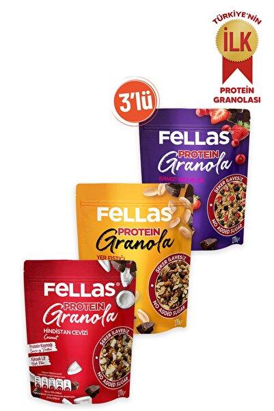 Fellas Granola 3'lü-protein Bar Parçacıklı Hindistan C. 270gr Kırmızı Meyveli 270gr + Yer Fıst. 270gr
