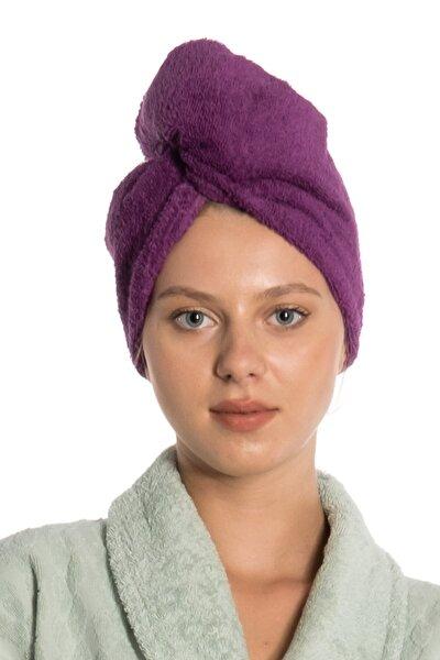 eumenia Düz Eponj Düğmeli Havlu Mor Saç Kurulama Bonesi