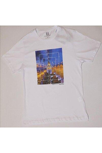 Five Pocket Erkek Beyaz Tişört 8250-fy16