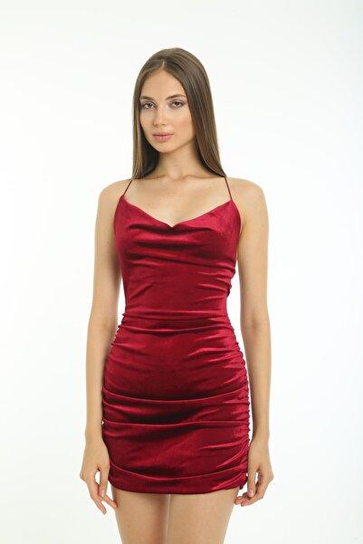 Banabu Kadın Bordo İp Askılı Sırt Dekolteli Kadife Elbise