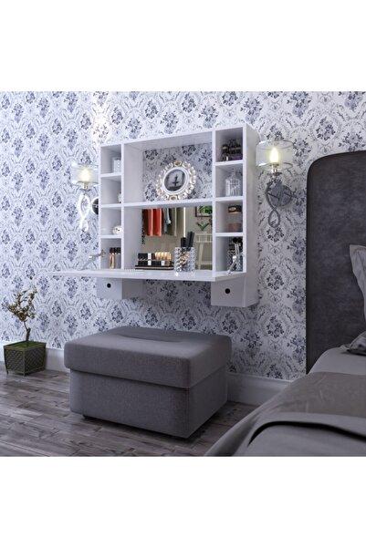 DEKORFİM Matmazel Aynalı Çekmeceli Lüx Makyaj Masası Beyaz