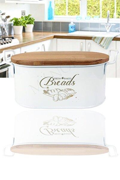 Manor Bambu Kapaklı Lüx Metal Ekmek Kutusu-beyaz