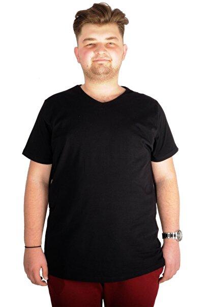 ModeXL Büyük Beden T-shirt V Yaka Likralı 20150 Siyah