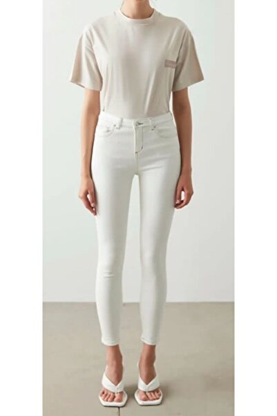 The Ness Collection Beyaz Likralı Beyaz Skinny Jean