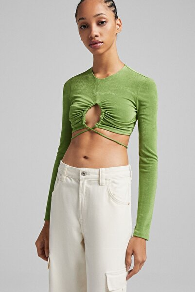 Bershka Bağcıklı Uzun Kollu Parlak T-shirt