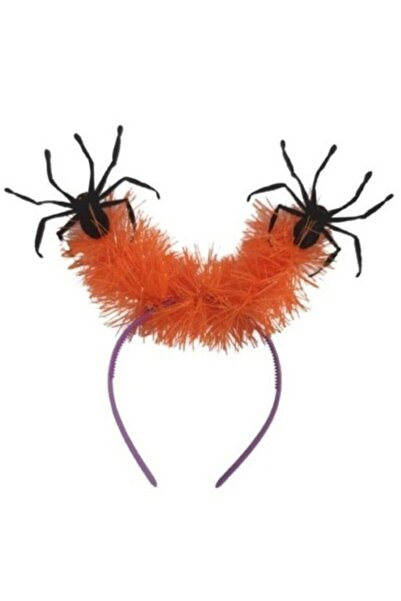 partidolu Cadılar Bayramı Halloween Turuncu Simli Mor Taçlı Örümcek Tacı