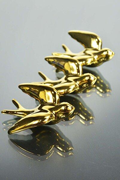 SepetçiBaba 4'lü Seramik Kuş Dolap Magneti Gold