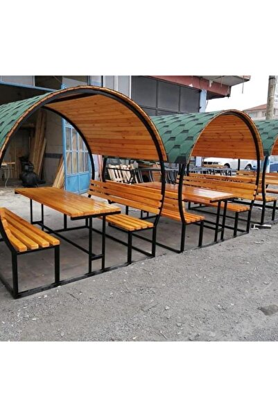 puhu aksesuar Bahçe Masası Ahşap Kamelya/çardak Piknik Masası (8 Kişilik)