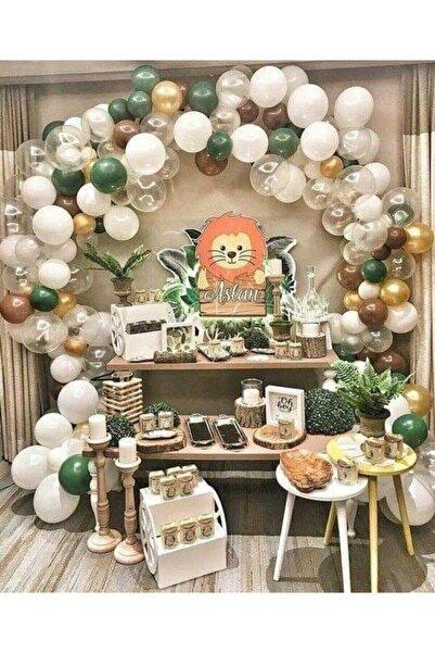 Aşkın Parti Evi Safari Konsept Balon Ve Balon Zinciri 100 Adet Metalik Balon