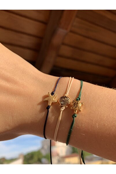 dibati moda & accessories Gold Aparatlı 3 Lü Set Ip Bileklik
