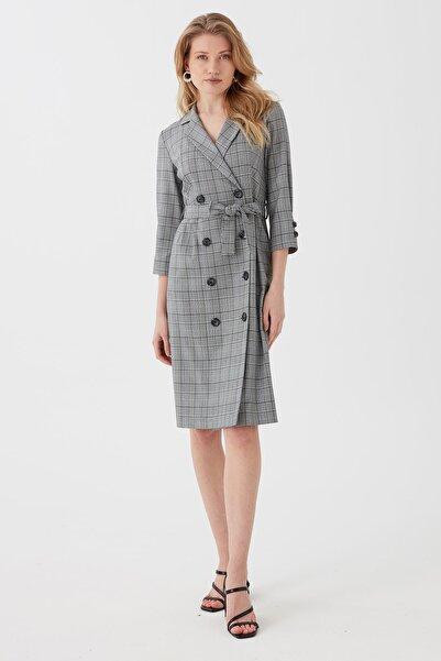 Chima Kadın Gri Önü Düğmeli Kruvaze Ekose Elbise
