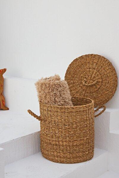 Home Naturel Çamaşır Sepeti Kapaklı Hasır Sepet Büyük Boy Hn9006b