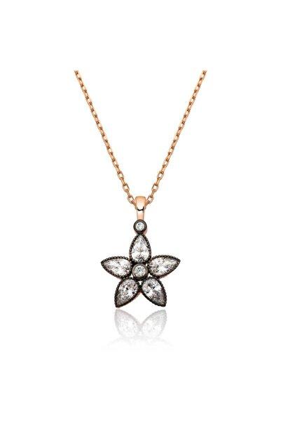 Gumush Gümüş Elmas Montür Çiçek Bayan Kolye