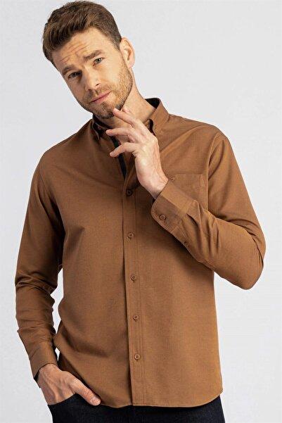 Tudors Klasik Fit Rahat Kesim Kahverengi Erkek Gömlek