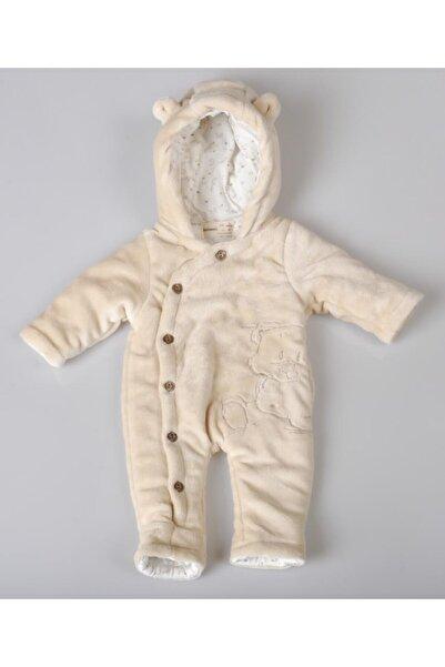 POKY BEBE Unisex Bebek Ekru Hello Ayıcık Işlemeli Düğmeli Coral Soft Elyaflı Uyku Tulumu -1426