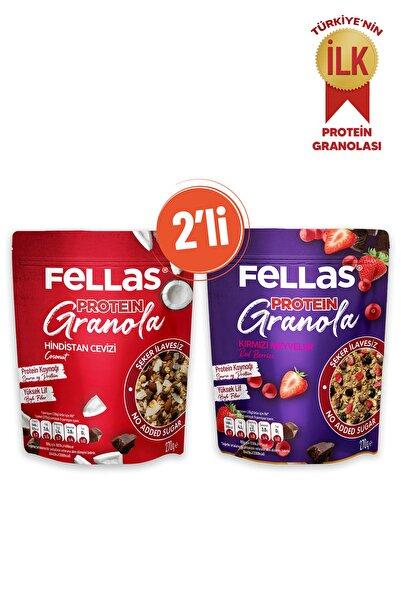Fellas Granola 2'li - Protein Bar Parçacıklı - Hindistan Cevizli 270 gr + Kırmızı Meyveli 270 gr