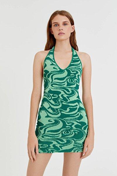 Pull & Bear Dalga Desenli Yeşil Mini Elbise