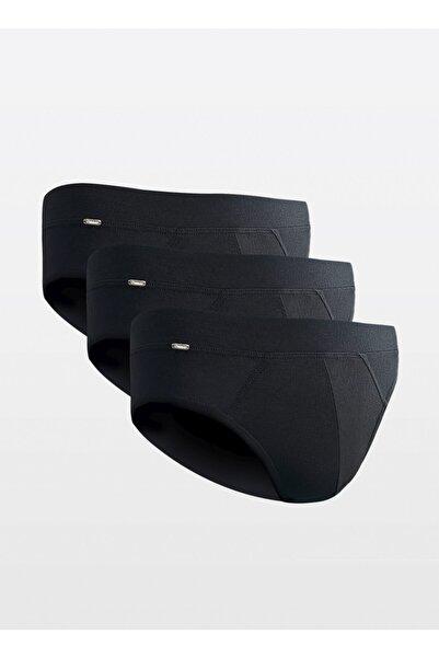 d'Weiner Erkek Siyah Modal Konfor Slip Külot 3'lü Paket