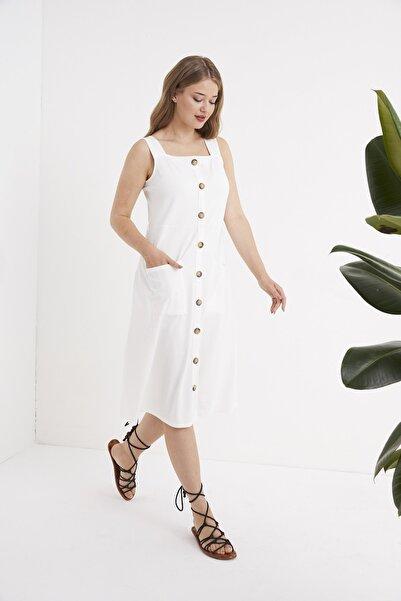 For Big Trend Bayan Kare Yaka Süs Düğmeli Cepli Yumuşak Doku Örme Elbise