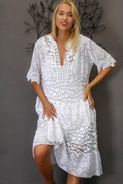 Chiccy Kadın Beyaz İtalyan Dantel Bloklu Yarım Kollu Astarlı Midi Elbise M10160000EL94352
