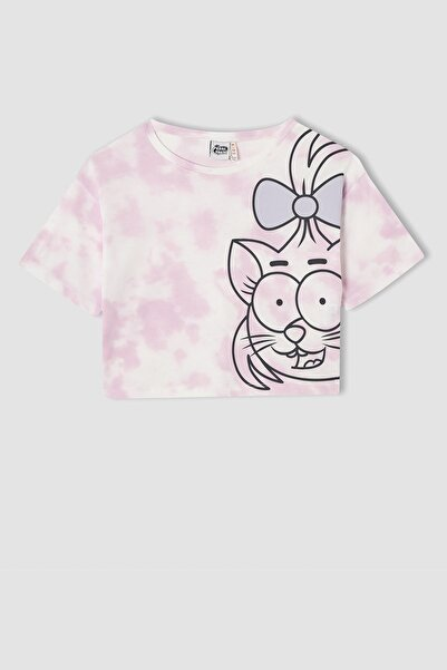 DeFacto Kız Çocuk Kral Şakir Lisanslı Crop Kısa Kollu Tişört