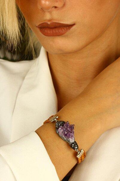 Dr. Stone Doğaltaş Kadın Ametist Bileklik Gümüş Kaplama Xz121ar333